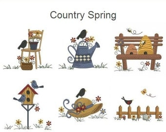 Country Spring - Machine Embroidery Designs Instant Download 4x4 hoop 10 designs SHE5163