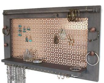 Jewlery Organizer - Wooden Wall Hanging Jewelry Shelf