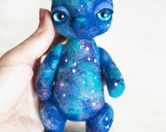 Galaxy bear needle felted woolen toy