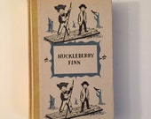 The Adventures of Huckleberry Finn, by Mark Twain (Samuel Clemens), 1954 Vintage Yellow Hardcover Illustrated