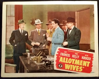 Original 1945 Allotment Wives Lobby Card Movie Poster Kay Francis, Paul Kelly