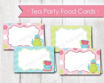 Tea Party Food Cards - Instant Download