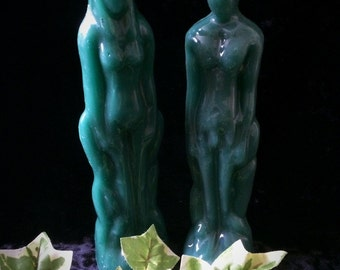 Green male/female image candles