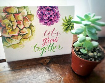 Valentines Day Card / Wedding Card / Love Card / Romantic Card / Anniversary Card / Let's Grow Together