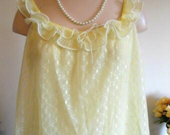 Vintage Feminine Lemon Yellow Long Nightgown ~ Double Nylon Chiffon ~ Elegant ~ Lolita ~ VLV ~ Romantic ~ Size Medium