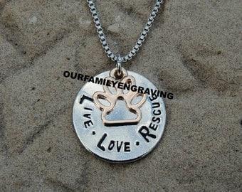 ON SALE Live Love Rescue Necklace pendant dog lover