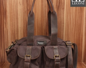 LECONI-LAN bag shoulder bag lady bag bag natural canvas leather dark brown LE0042-C