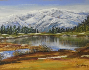 Pastel painting. Landscape painting. Italian mountains. Mountain painting. Lake painting. Small painting. Fine art. Reflection painting.
