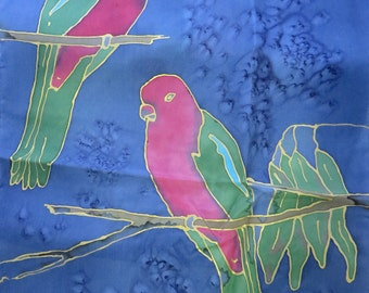 Australian birds silk scarf - King Parrots