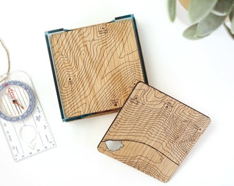 Glencoe Map Coasters: laser etched maps on oak, a gift for walkers, hikers, dads & groomsmen