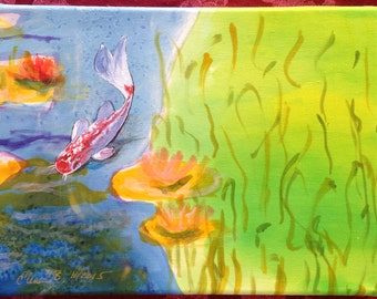 Original painting on silk: Koi Fish in Pond. Mounted on stretched canvas.