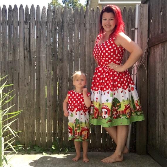 Kids 1950s Clothing & Costumes: Girls, Boys, Toddlers Mommy & Me Set Red Polka Dot Gnomes Dresses  AT vintagedancer.com