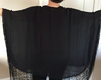 Beautiful Vintage Black Silk and Beaded Shawl by Adriene