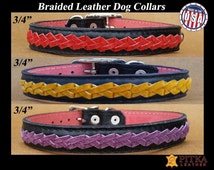 Braided Dog Collar - Black Braided Collar - Leather Braided Dog Collars - Quality Dog Collars Handmade in USA - Fashionable Dog Collars
