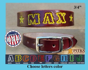 Dog Name Collar - Dog Collar with Name 3/4 inch wide Personalized - Medium Dog Collar Custom Made - Unique Dog Collar mahogany -colored name