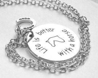 """Horse necklace """"Life is better with a horse"""""""