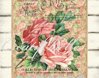 Victorian Shabby Chic Peachy Pink Roses Large Instant Digital Download Printable Antique Floral Graphic Art Transfer Image 0220