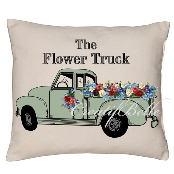 Vintage Green Chevy Flower Truck Large Instant By CreatifBelle