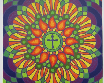 """Colorful Christ Centered Print of an original acrylic painting - """"Peace Be With You"""" Mandala - 12' x 12"""""""