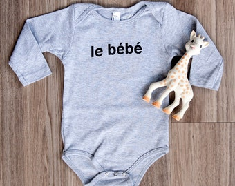 Le Bebe French Baby Bodysuit, French Infant, Shirt, Long Sleeve Baby Bodysuit, Hipster Baby, Graphic Tee, Gender Neutral, Baby, One-piece