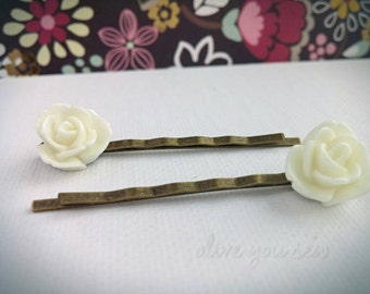 Resin Flower Bobby Pins, flower hair pins - WHITE, various styles