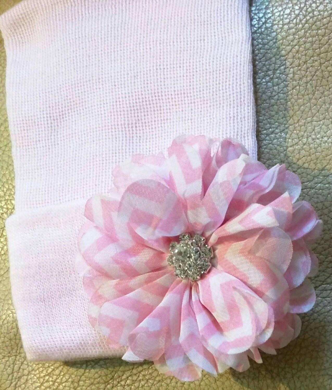 Solid Pink Newborn Hospital Hat w Flower and Rhinestone on