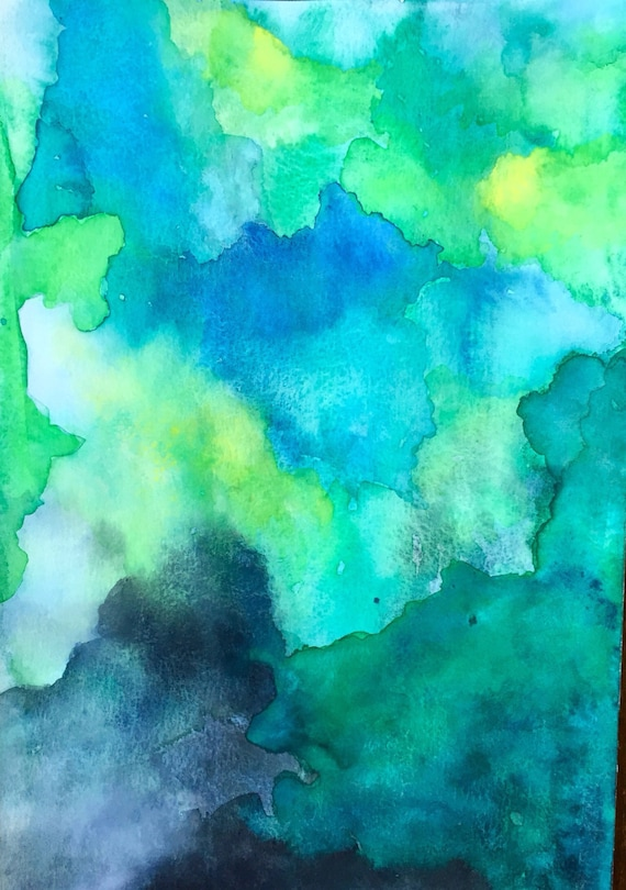 Art Wall Jr Green Jacket : Emerald isle original watercolor abstract unframed unique