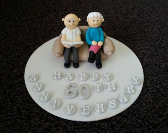 edible married couple anniversay birthday cake topper
