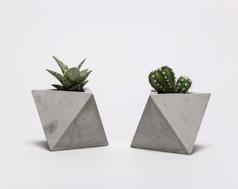 frauklarer octahedron concrete planter, handmade cachepot, modern geometric style, concrete pot