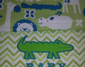 Boy baby blanket alligator themed embroidery Applique flannel reversible cotton