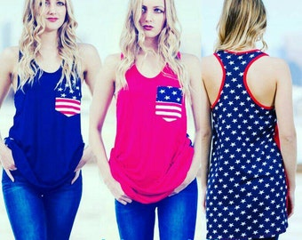 Flag tank perfect for July 4th