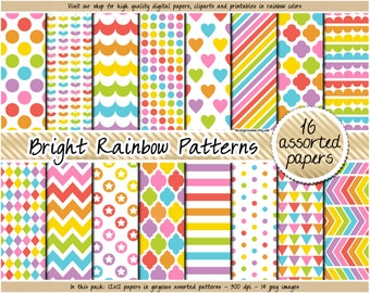 SALE rainbow digital paper easter digital paper bright pastel digital rainbow clipart polka dot chevron heart stripe quatrefoil star diamond