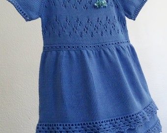 knit dress, knit girls dress, baby girls dress, lace dress, ruffle dress, blue dress, cotton, toddler dress, crochet dress, ready to ship