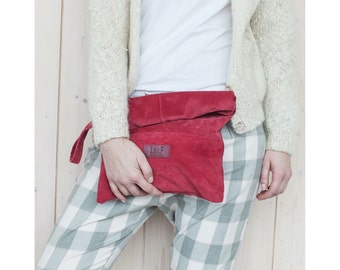 Upcycled leather, clutch bag, recycled leather clutch bag, large leather pouch, oversized clutch, suede leather bag, purse, eco bag