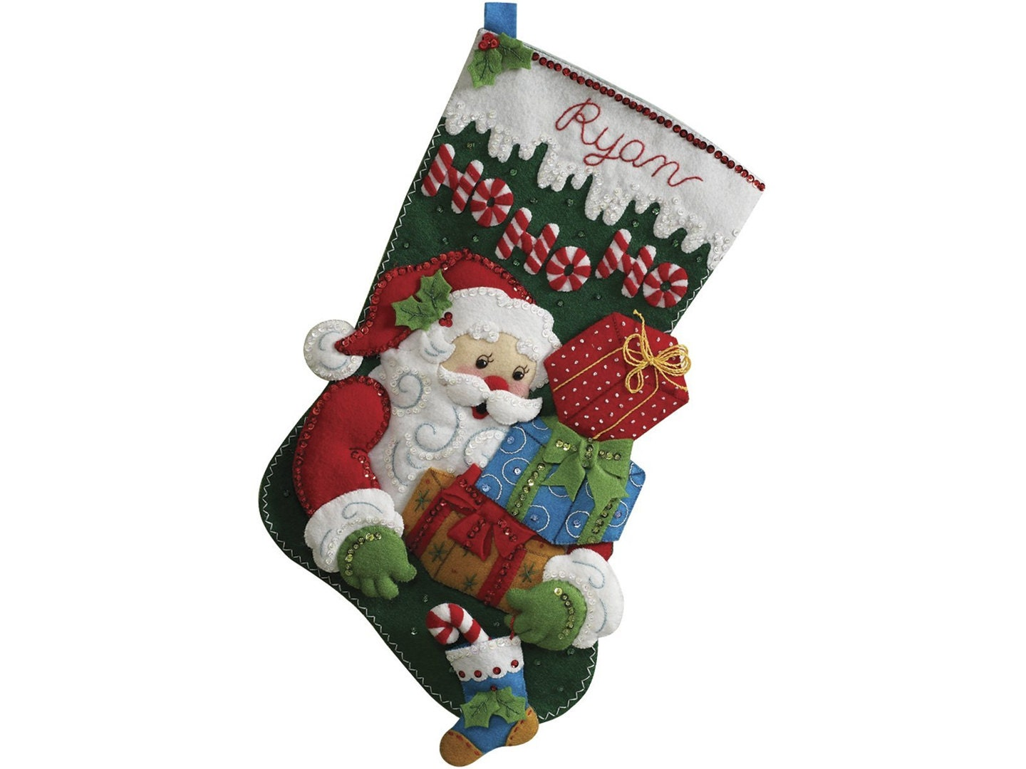 Santa Felt Stocking Kit Christmas Stocking Needlepoint Kit