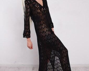 Maxi Crochet Dress,Knitted Maxi black Dress, Maxi Beach Lacy Dress, Handmade Dress, Viscose Summer Long dress.Vintage beachwear Dress
