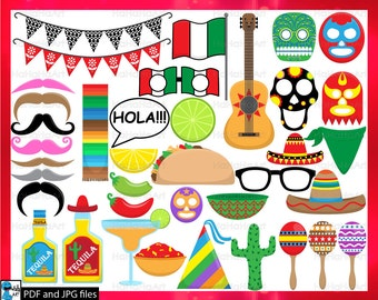 Fiesta Props - ClipArt PDF JPG Digital Graphic Design Commercial Use Prop Photo Booth Instant Download Clip art Party (00178)
