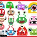 Cute Monsters Props v1 - ClipArt PDF JPG Digital Graphic Design Commercial Use Prop Photo Booth Instant Download Clip Art Party Fun (00235)