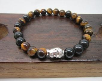 Buddha Bracelet Mens Third Eye Chakra Bracelet Silver Buddha Men Bracelet Tiger Eye Buddha Mala Men Energy Bracelet Protection Bracelet Mala