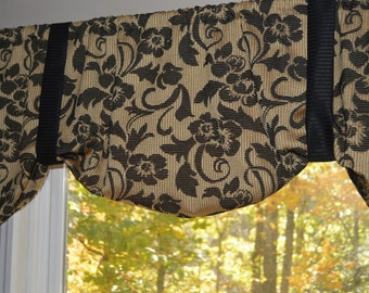 Window Treatment, Tie Up Valance, Black and Gold Valance, Black Floral Valance