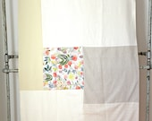 """Large throw blanket: abstract series """"Salmon & floral print"""""""