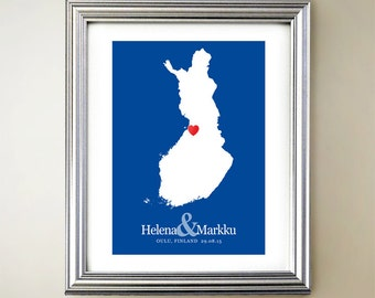 Finland Custom Vertical Heart Map Art - Personalized names, wedding gift, engagement, anniversary date
