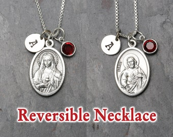 Sacred Heart Reversible Necklace - Personalized - Swarovski Crystal Birthstone or Pearl - Immaculate Heart of Mary, Sacred Heart of Jesus
