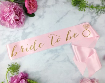 Bride-To-Be Sash with Diamond Ring - bachelorette party accessory - bachelorette sash - bride to be sash