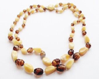 1960's Vintage Glass Nugget Bead Necklace