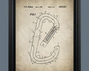 Carabiner Patent Print - Carabiner Patent - Rock Climbing Patent - Rock Climbing Decor - Rock Climber Gift - Rock Climbing Art - #104