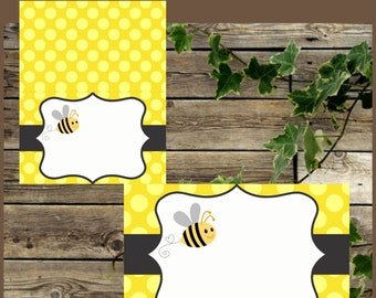 Bee Food Tents, Yellow Bee Food Labels, Instant Download, Baby Shower Blank Foldable Place Cards, Bee Printable Buffet Labels