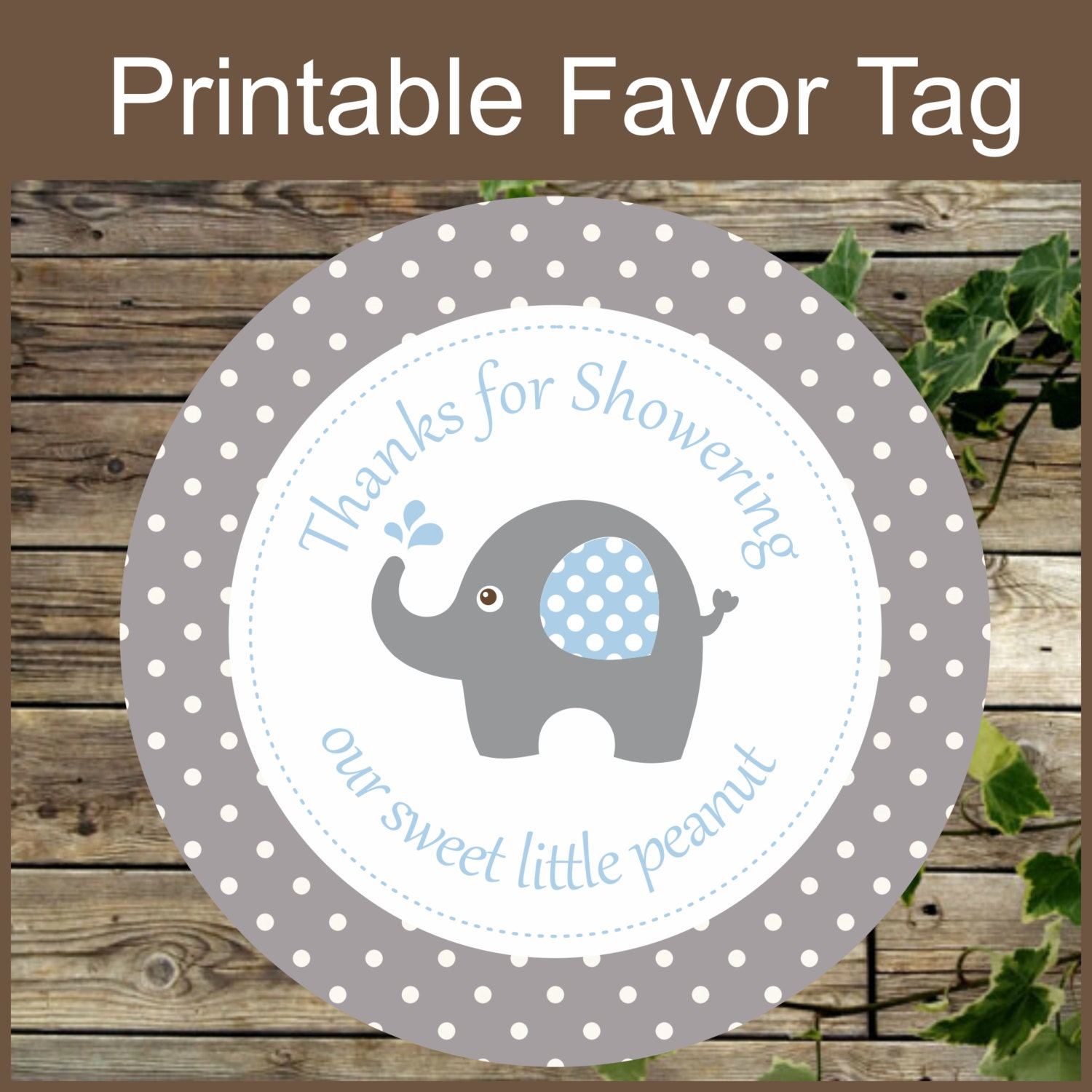 Baby Shower Gift Tags Printable Free: Elephant Favor Tags Grey And Blue Baby Shower Favor Tags