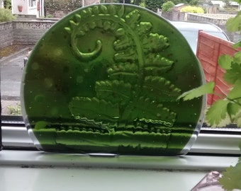 Fused glass fern candle screen, suncatcher