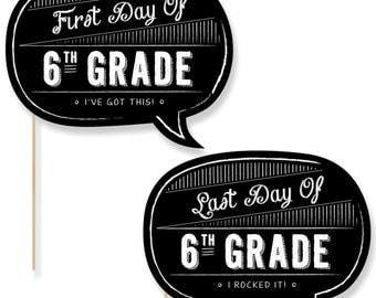 6th Grade - First Day & Last Day of School Photo Props - 6th Grade Photo Booth - Back to School Photo Prop - 2 Talk Bubbles